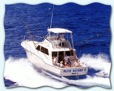 The Blue Water II fishing charter boat on the water