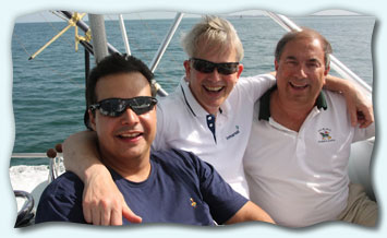 Work colleagues aboard the Blue Water II on a corporate fishing trip.